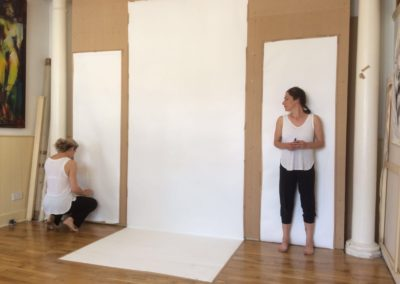 Photo of Cheryl, preparing to draw with dance artist Marie Louise Flexen