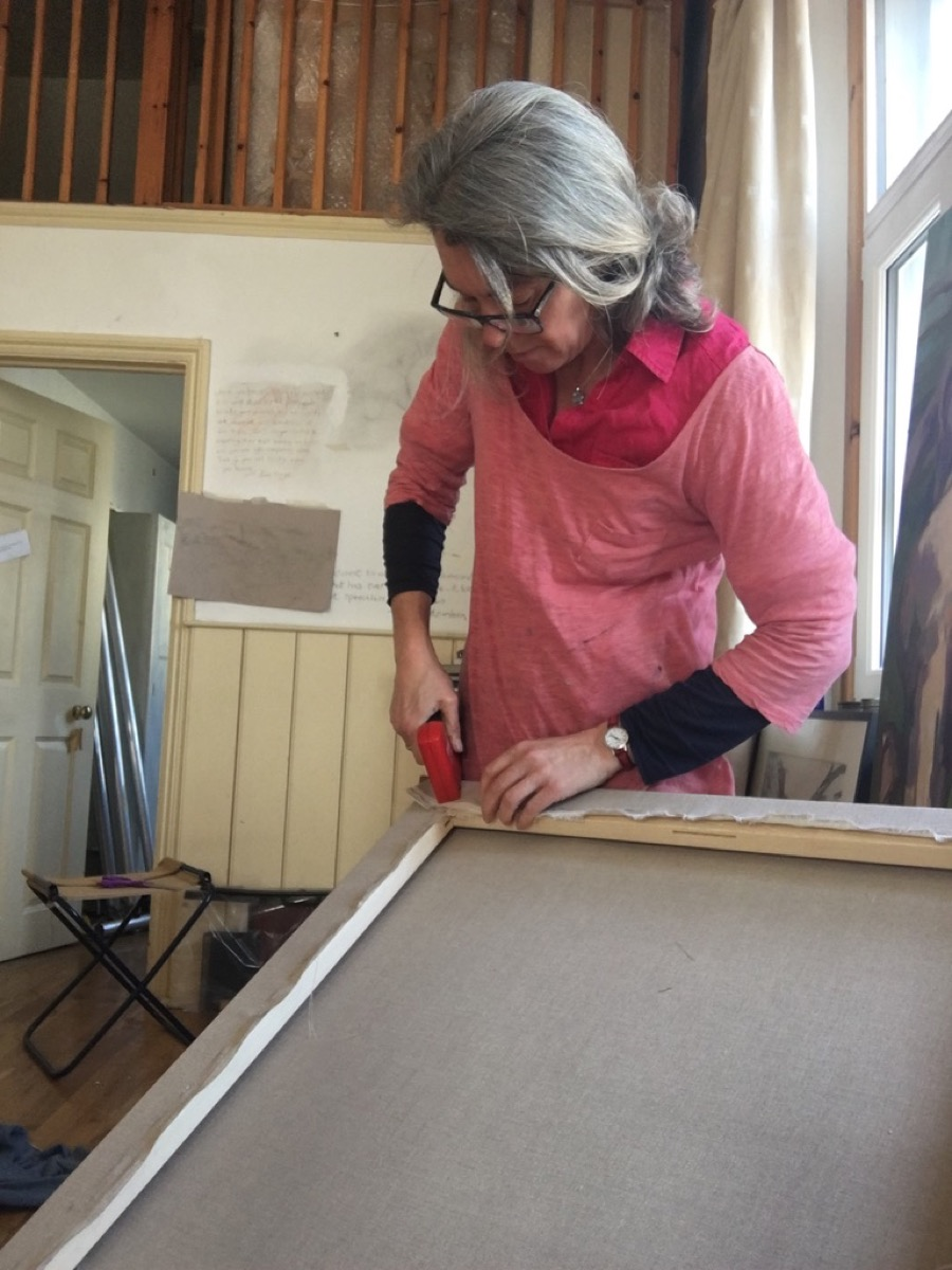 Cheryl preparing a new canvas